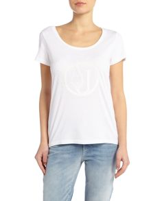 Armani Jeans Short sleeve shiny AJ tee in white