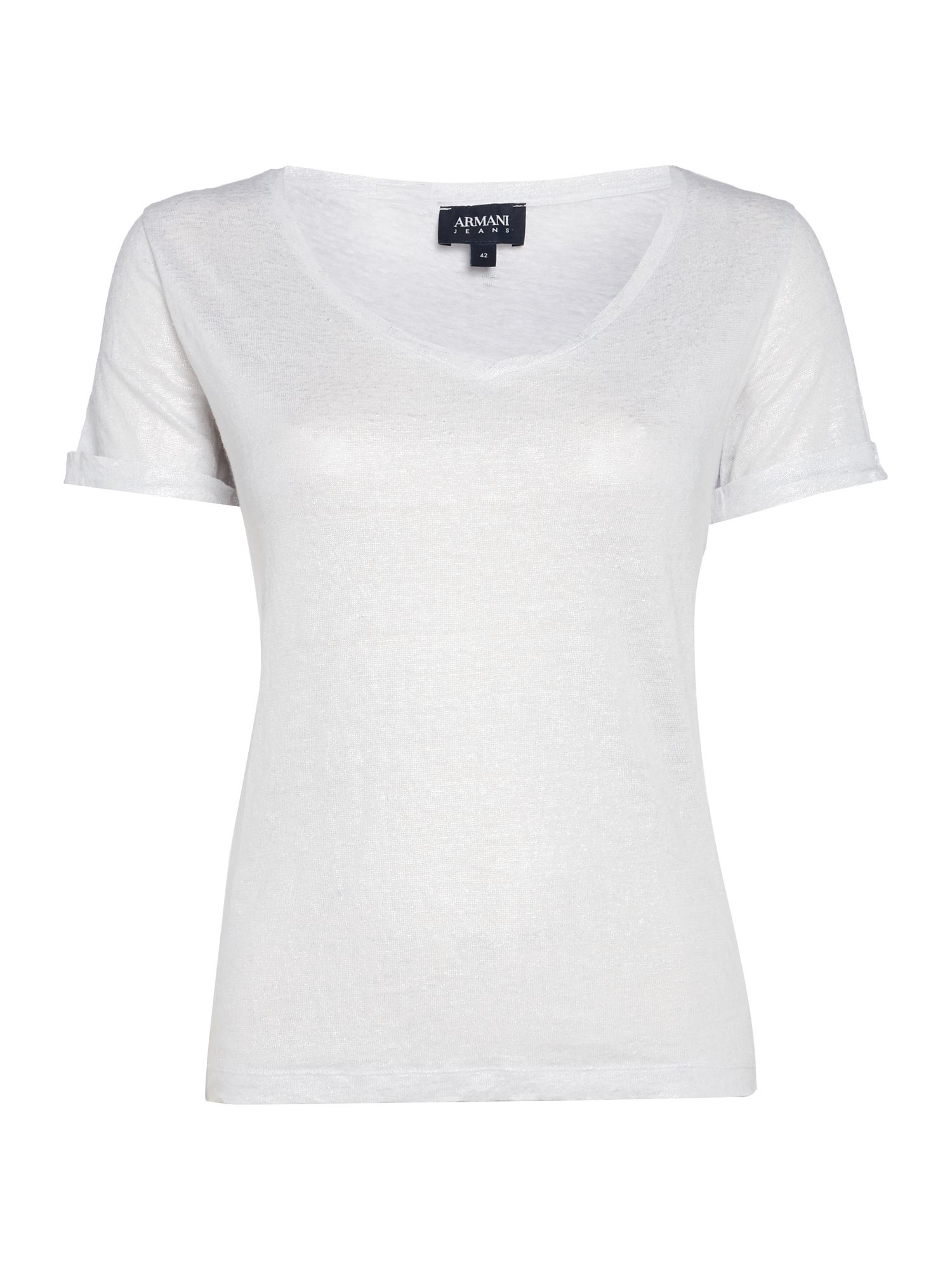 Armani Jeans V Neck Tee in Bianco, White