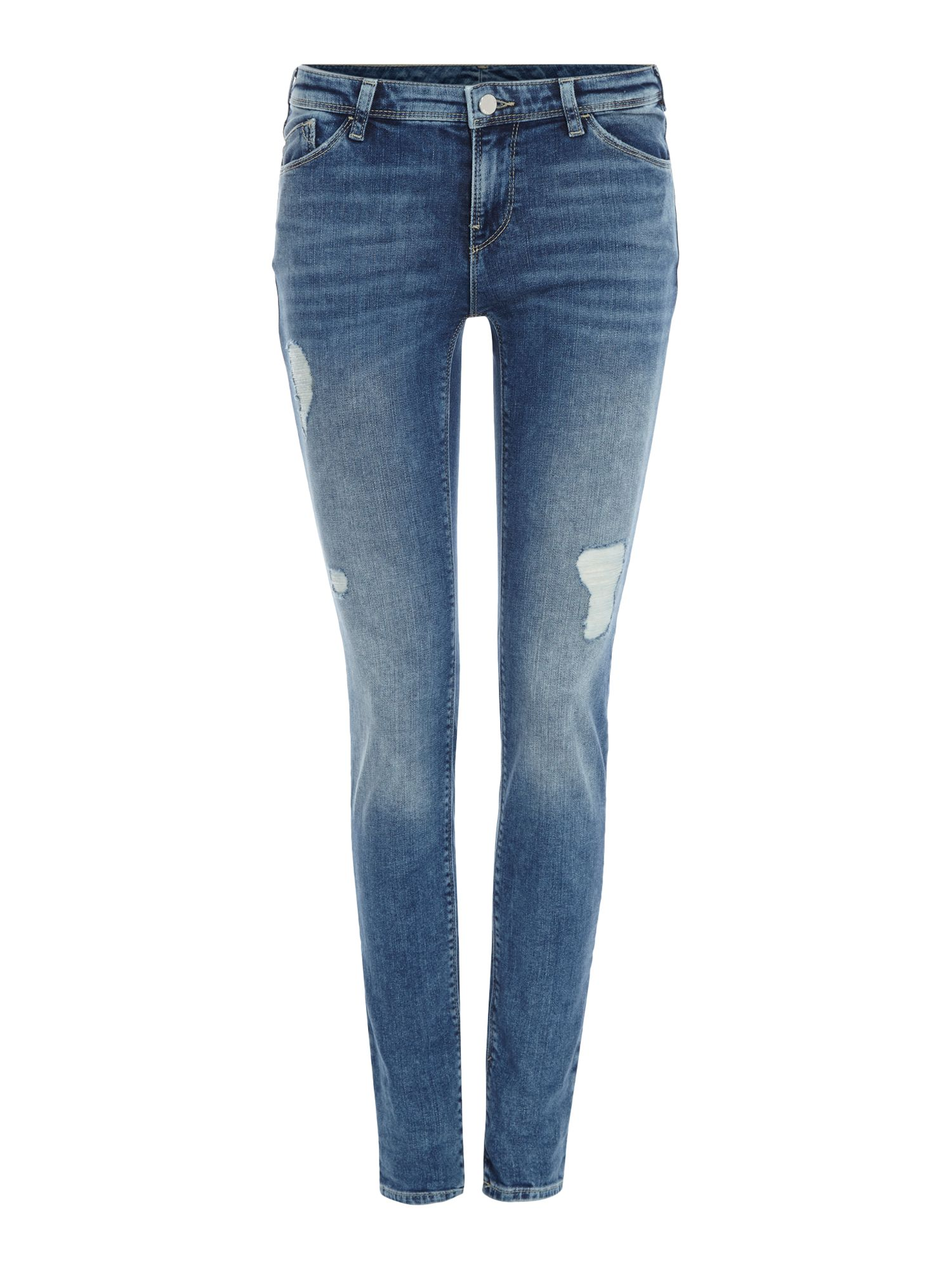 J28 Worn Thighs Distressed In Blu Denim, Denim Light Wash