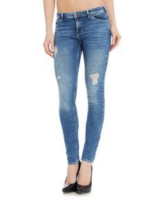Armani Jeans J28 Worn Thighs Distressed Jean in Blu Denim