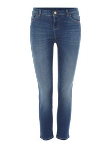 Armani Jeans J03 cropped distressed thigh jean in denim indaco