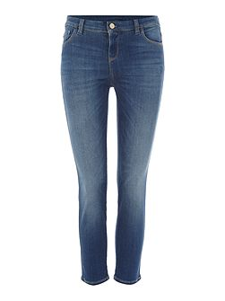 J03 cropped distressed thigh jean in denim indaco