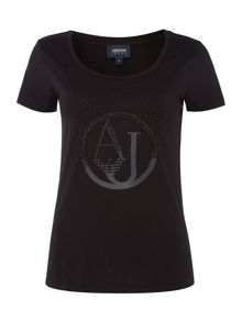 Armani Jeans Short sleeve shiny AJ tee in black