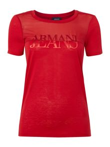 Armani Jeans Short sleeve sheer logo tee in rosso