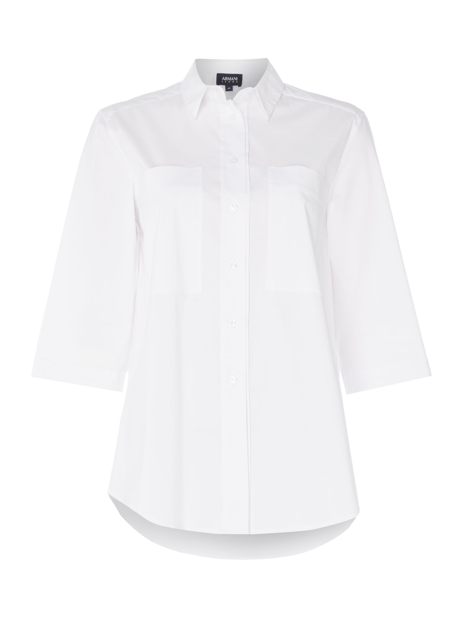 Armani Jeans 2 pocket shirt in 1100 white, White