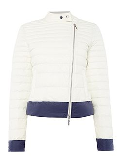 Cropped puffer jacket in bianco latte