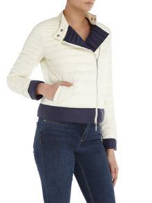 Armani Jeans Cropped puffer jacket in bianco latte
