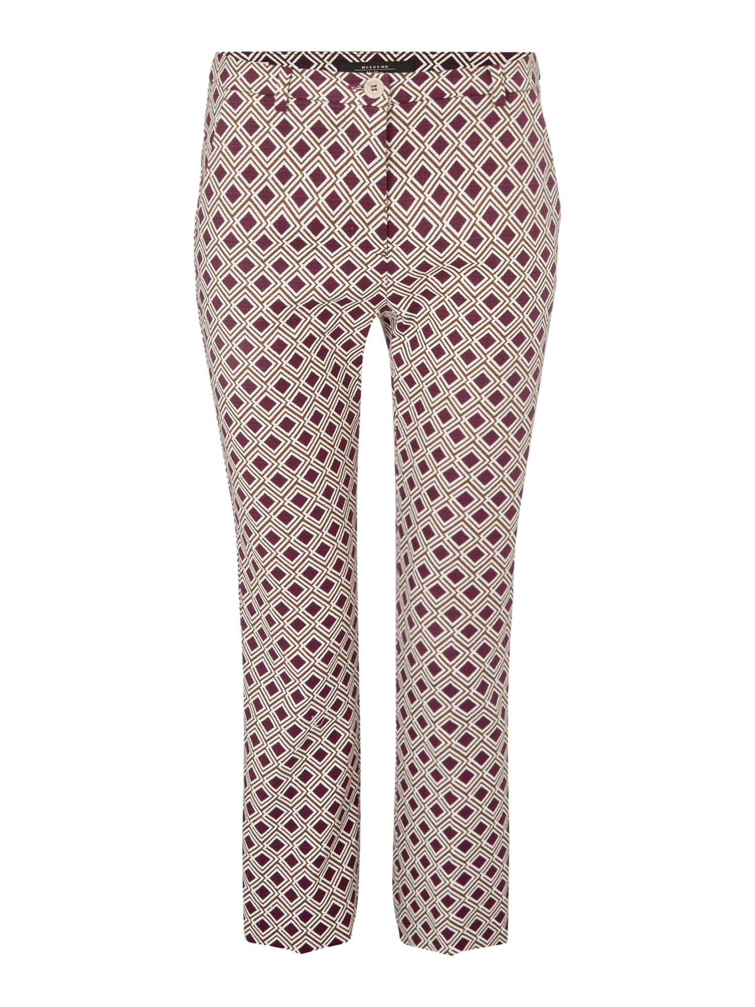 Max Mara Weekend VADET slim fit jaquard trouser with kick hem, Red