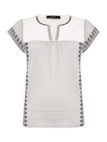 Max Mara PANDORO short sleeve cotton mix broderie tee