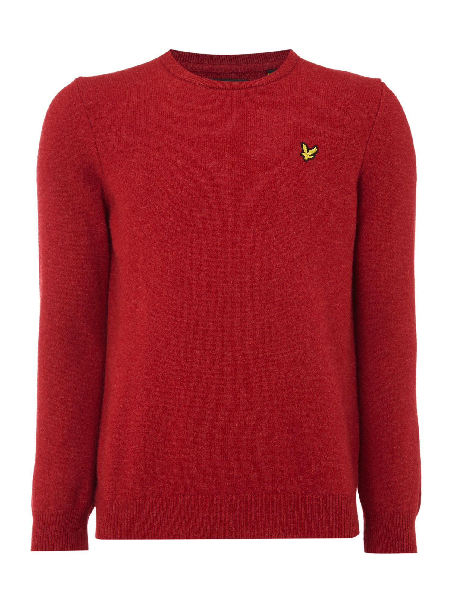 Lyle and Scott Men's Lyle and Scott Lambswool Crew Neck Jumper, Red Marl