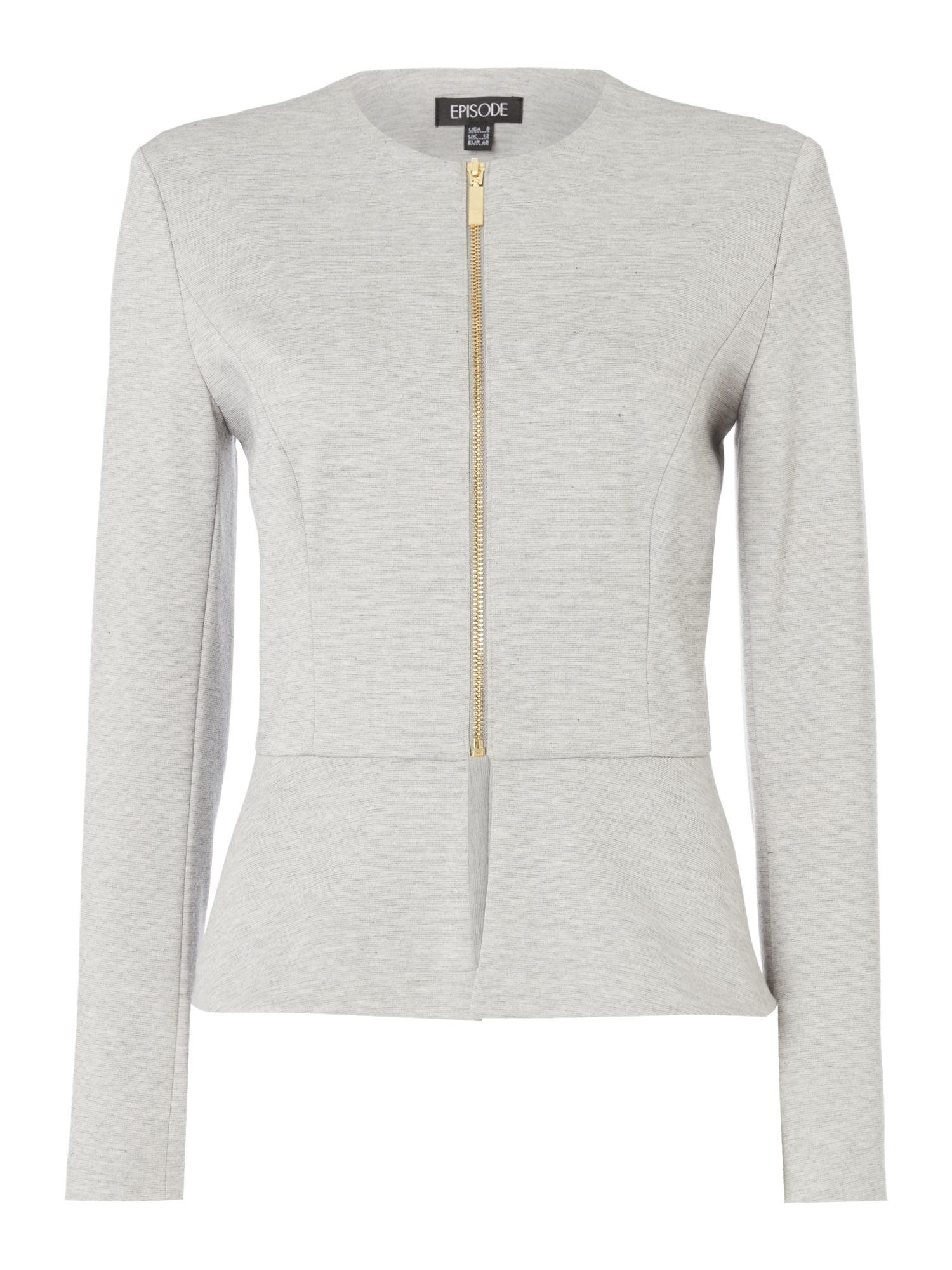 Episode Episode Peplum jersey jacket, Grey Marl