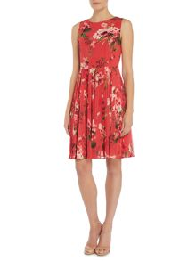 Adrianna Papell Pleated Floral Dress