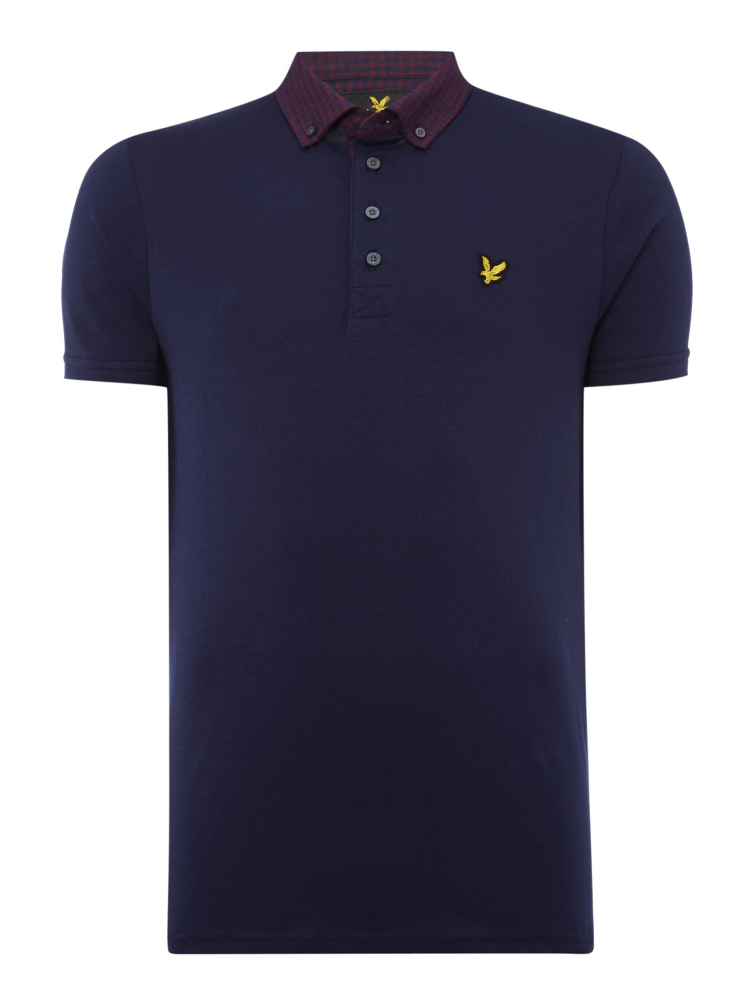Lyle and Scott Men's Lyle and Scott Short sleeve woven collar jersey polo shirt, Navy
