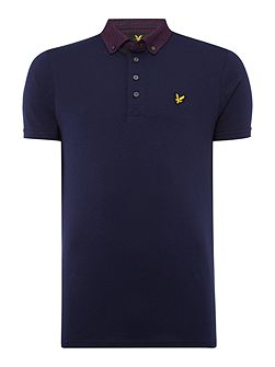Short sleeve woven collar jersey polo shirt