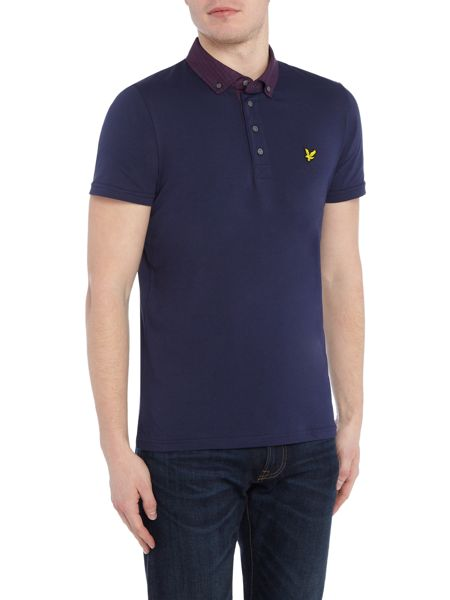 Lyle and Scott Short sleeve woven collar jersey polo shirt