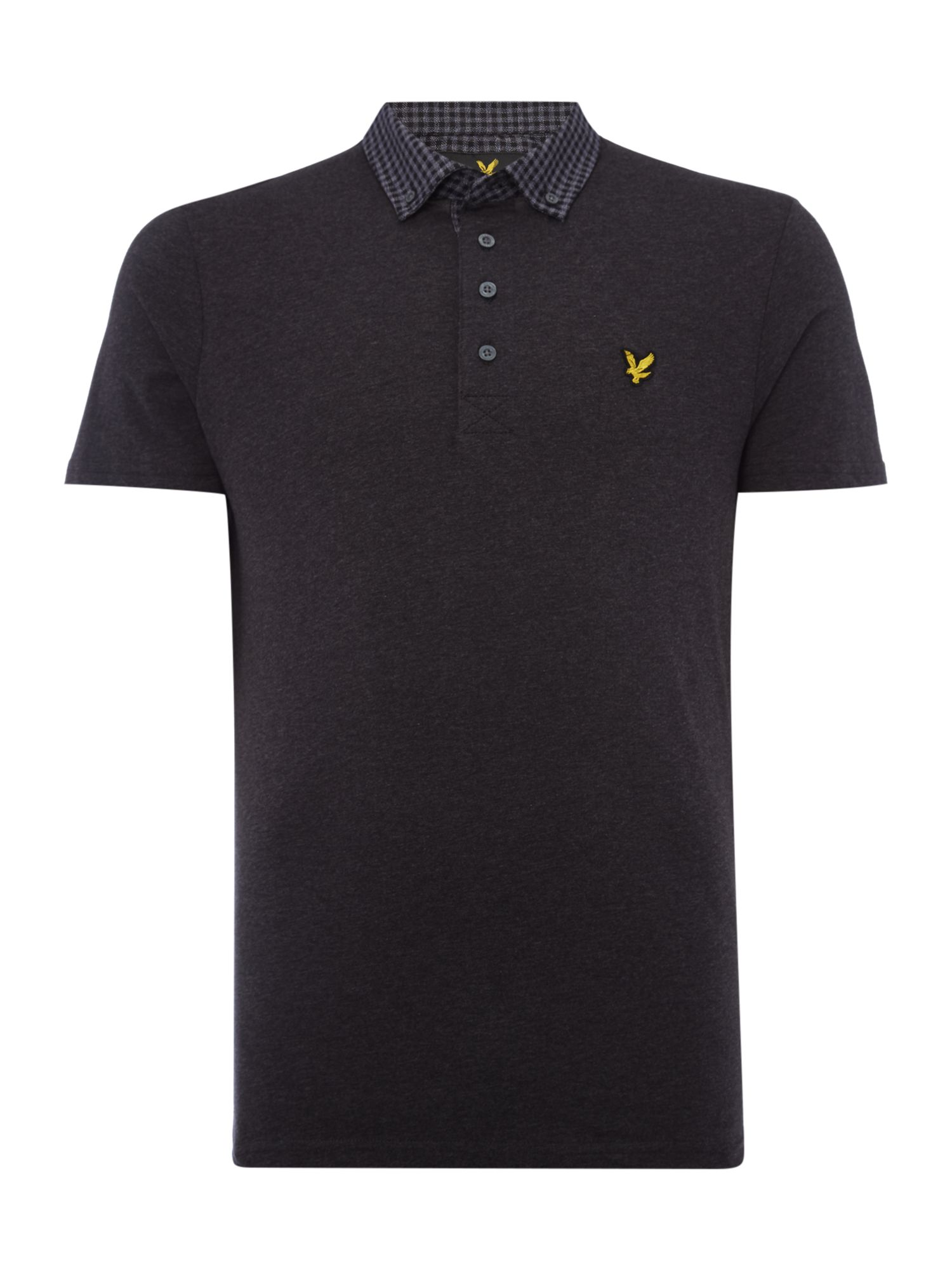 Lyle and Scott Men's Lyle and Scott Short sleeve woven collar jersey polo shirt, Charcoal Marl