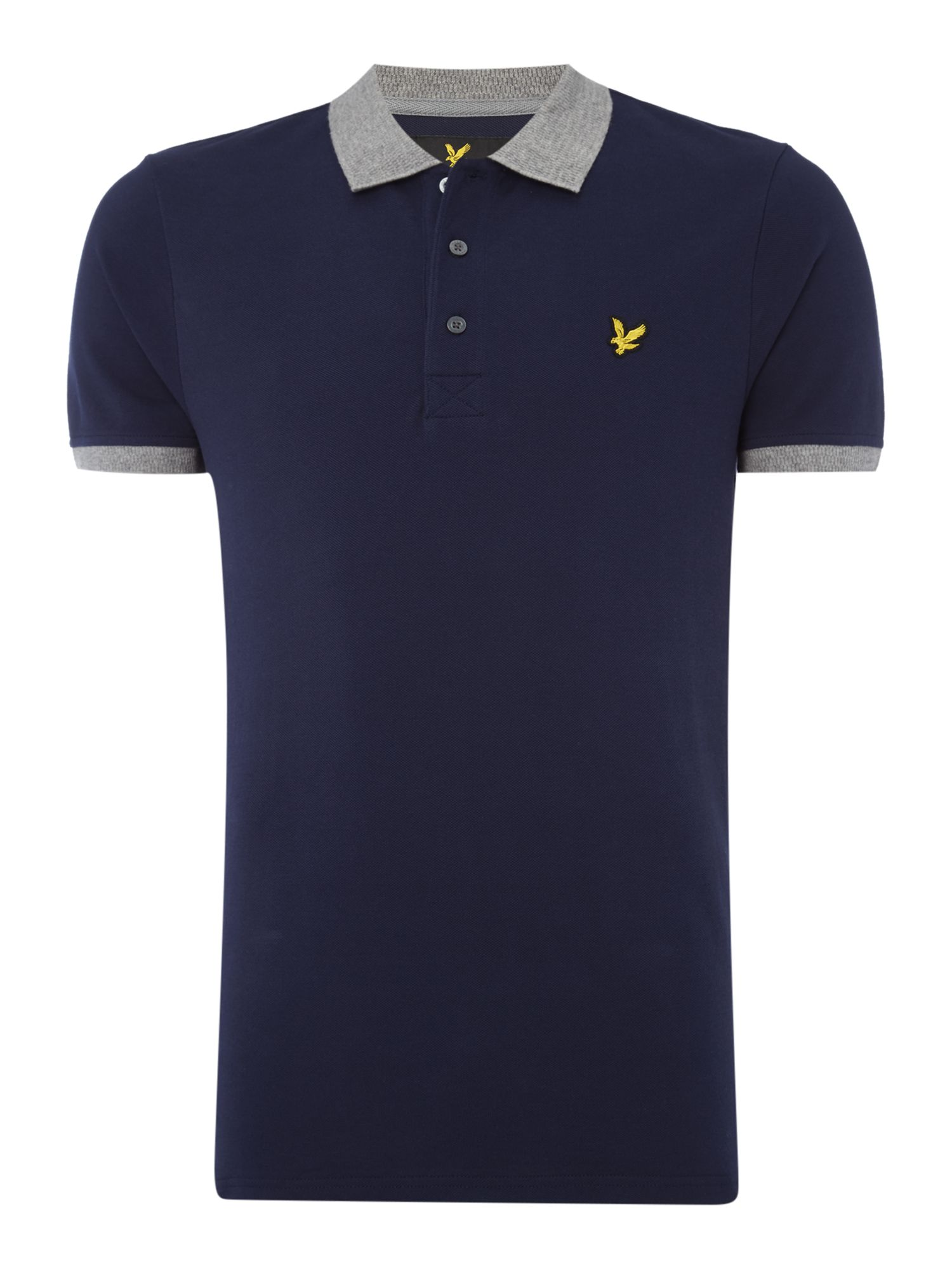 Lyle and Scott Men's Lyle and Scott Contrast rib short sleeve polo, Navy