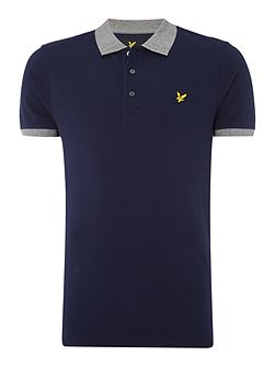 Contrast rib short sleeve polo