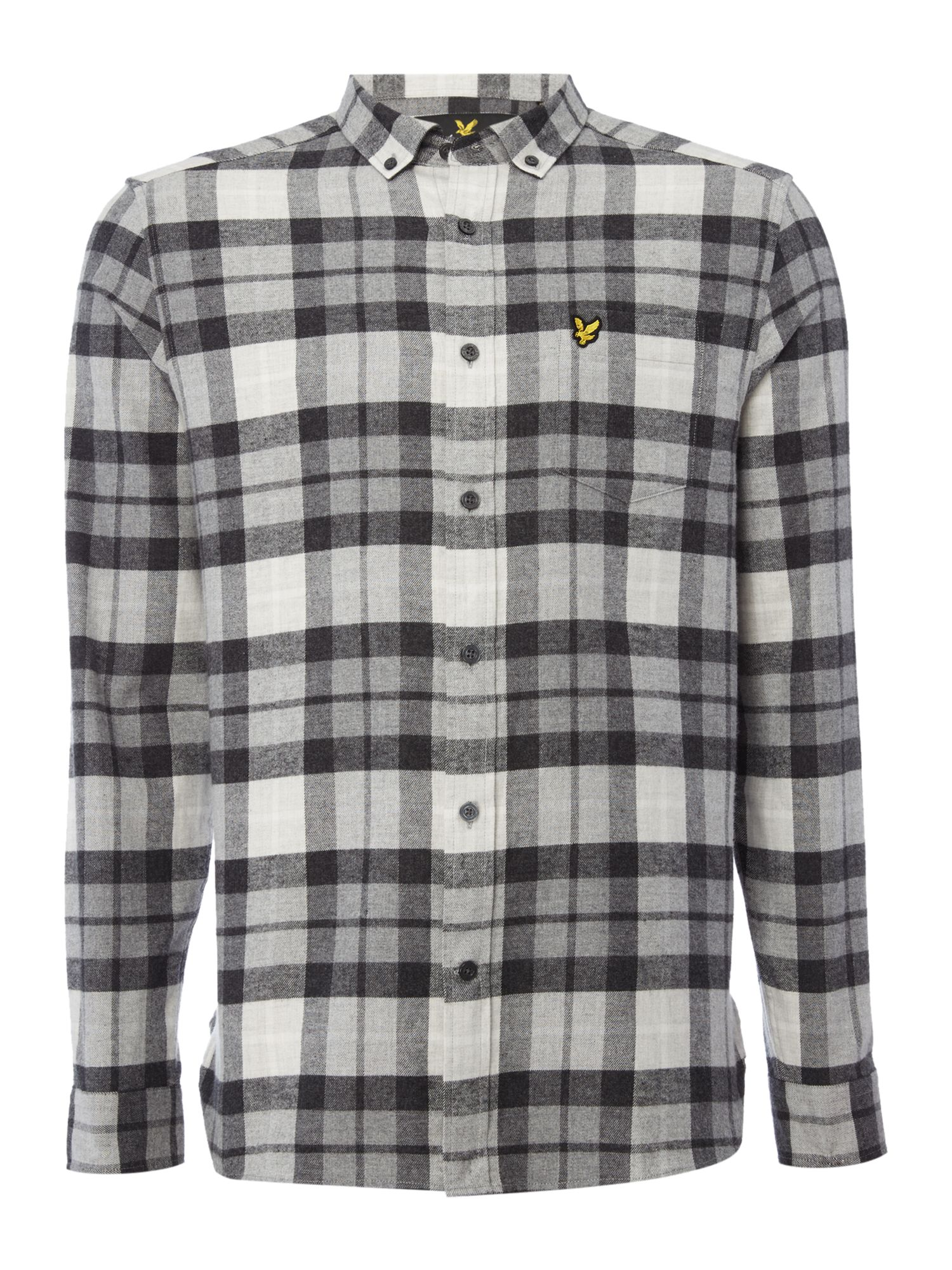 Lyle and Scott Men's Lyle and Scott Long sleeve check flannel shirt, Charcoal Marl