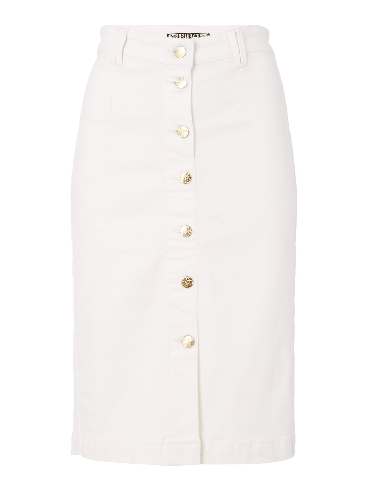Biba Button through super stretch denim skirt, White