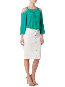 Biba Button through super stretch denim skirt