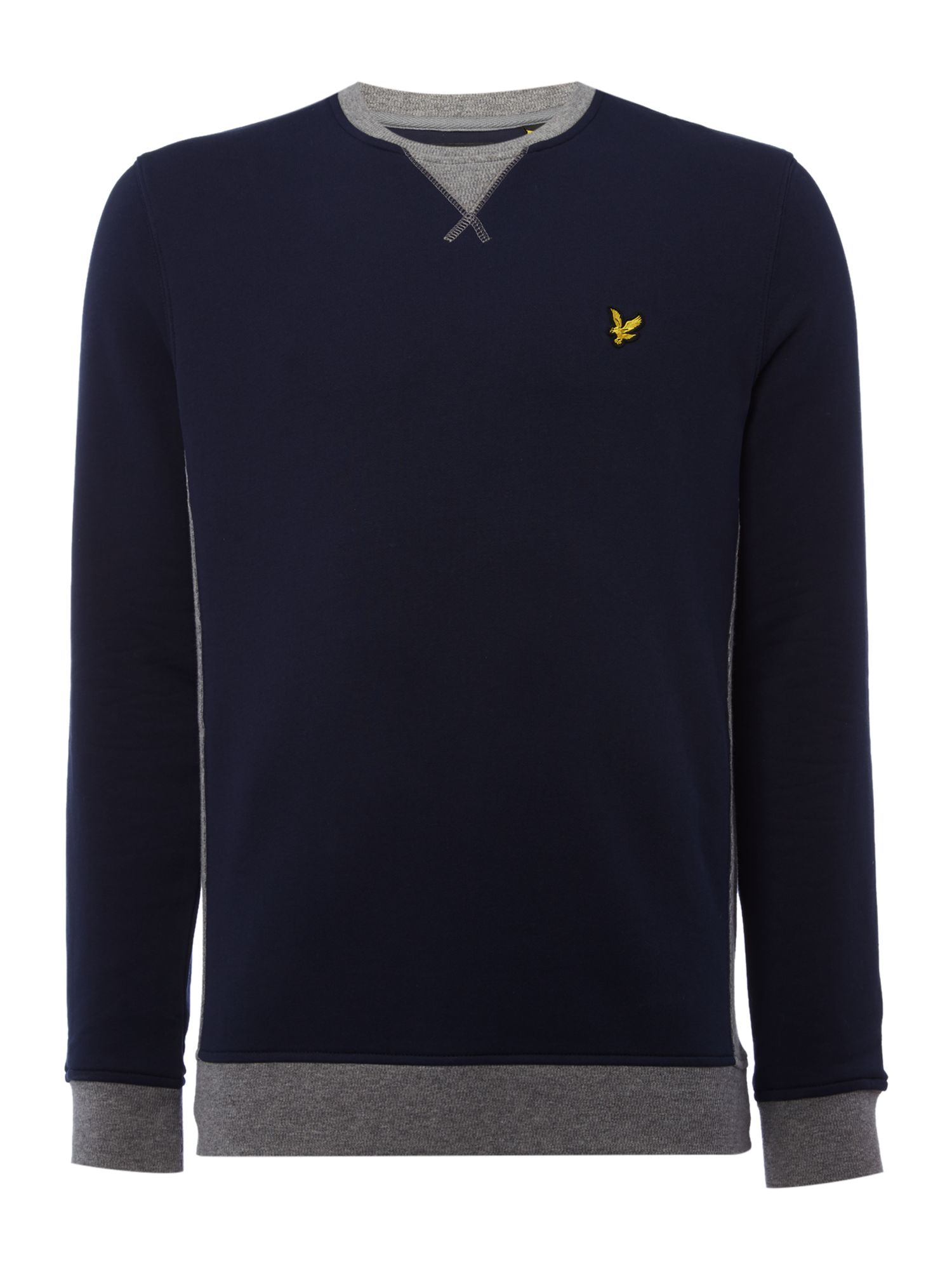 Men's Lyle and Scott Contrast rib crew neck sweatshirt, Blue