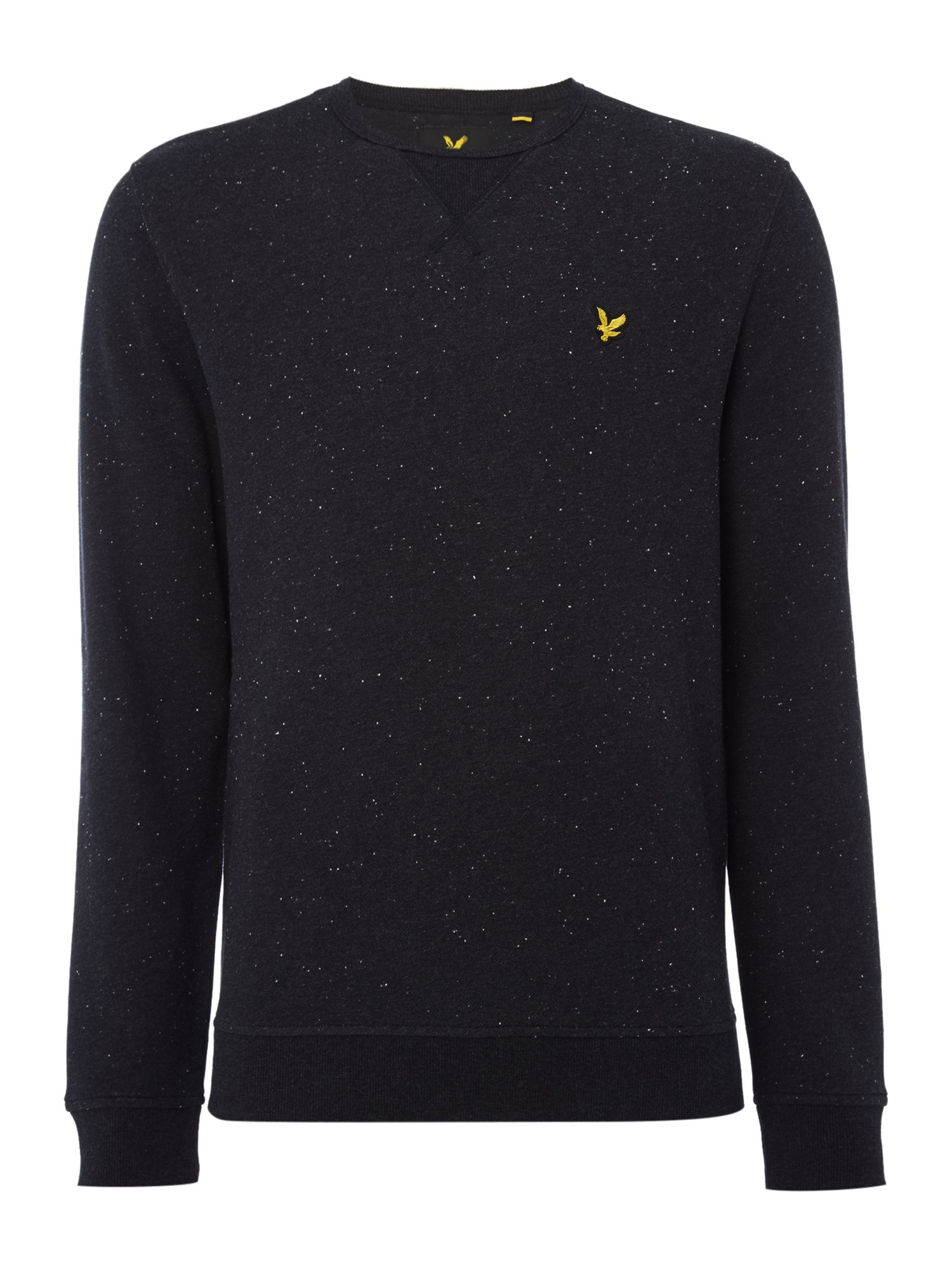Men's Lyle and Scott Brushed fleck crew neck sweatshirt, Black