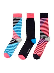 Ted Baker Organic Stripe Sock Multi Pack