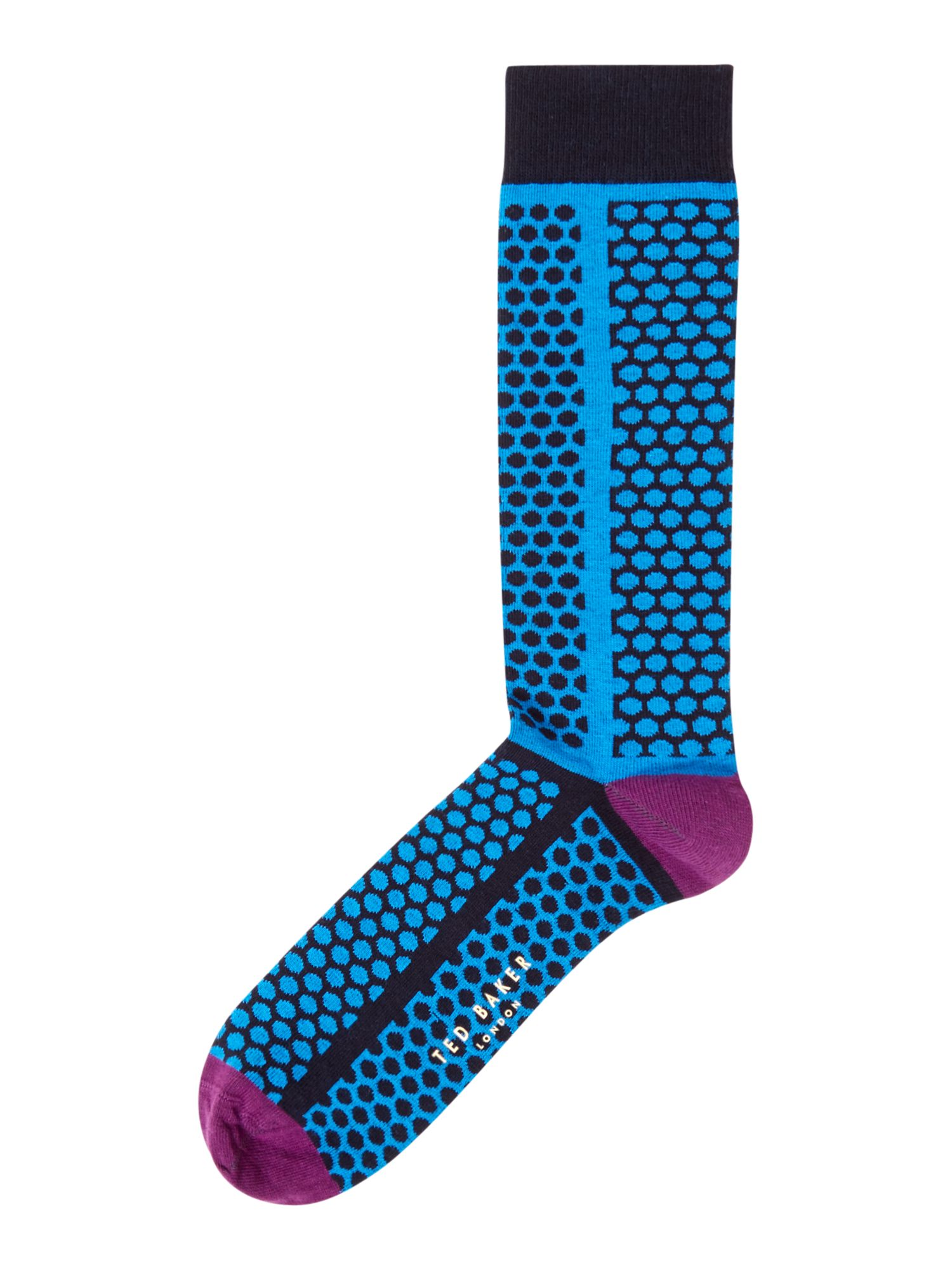 Mens Ted Baker Organic Mixed Scale Spot Socks Blue