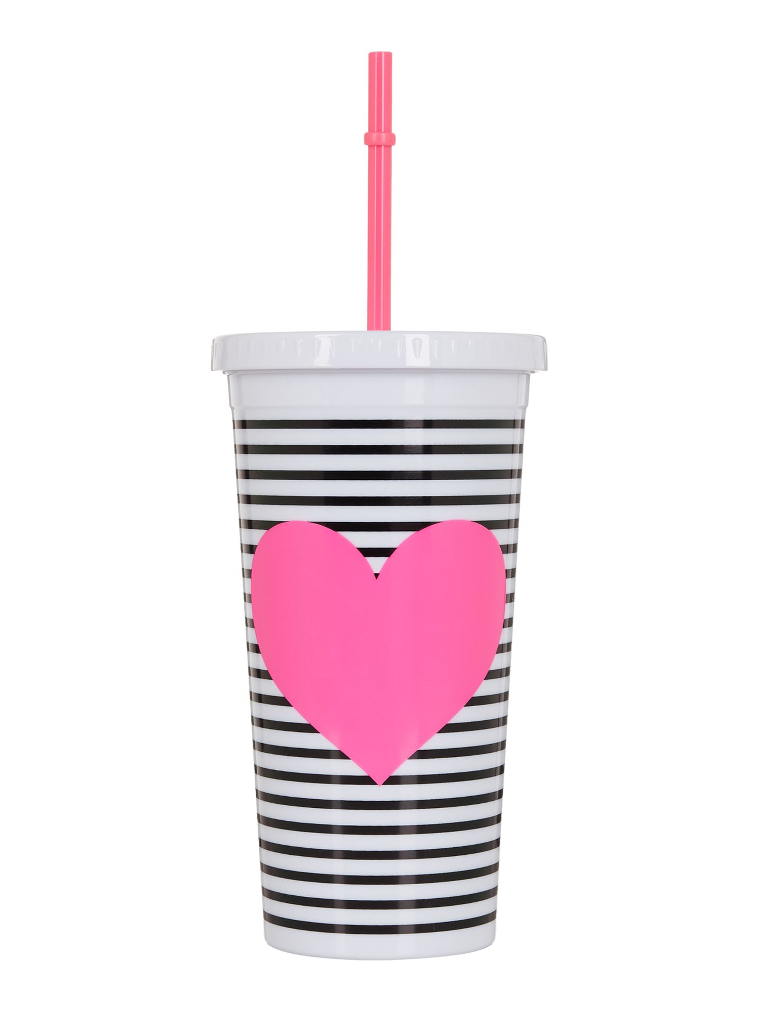 Image of Ban.do Neon heart with stripes, tumbler with straw