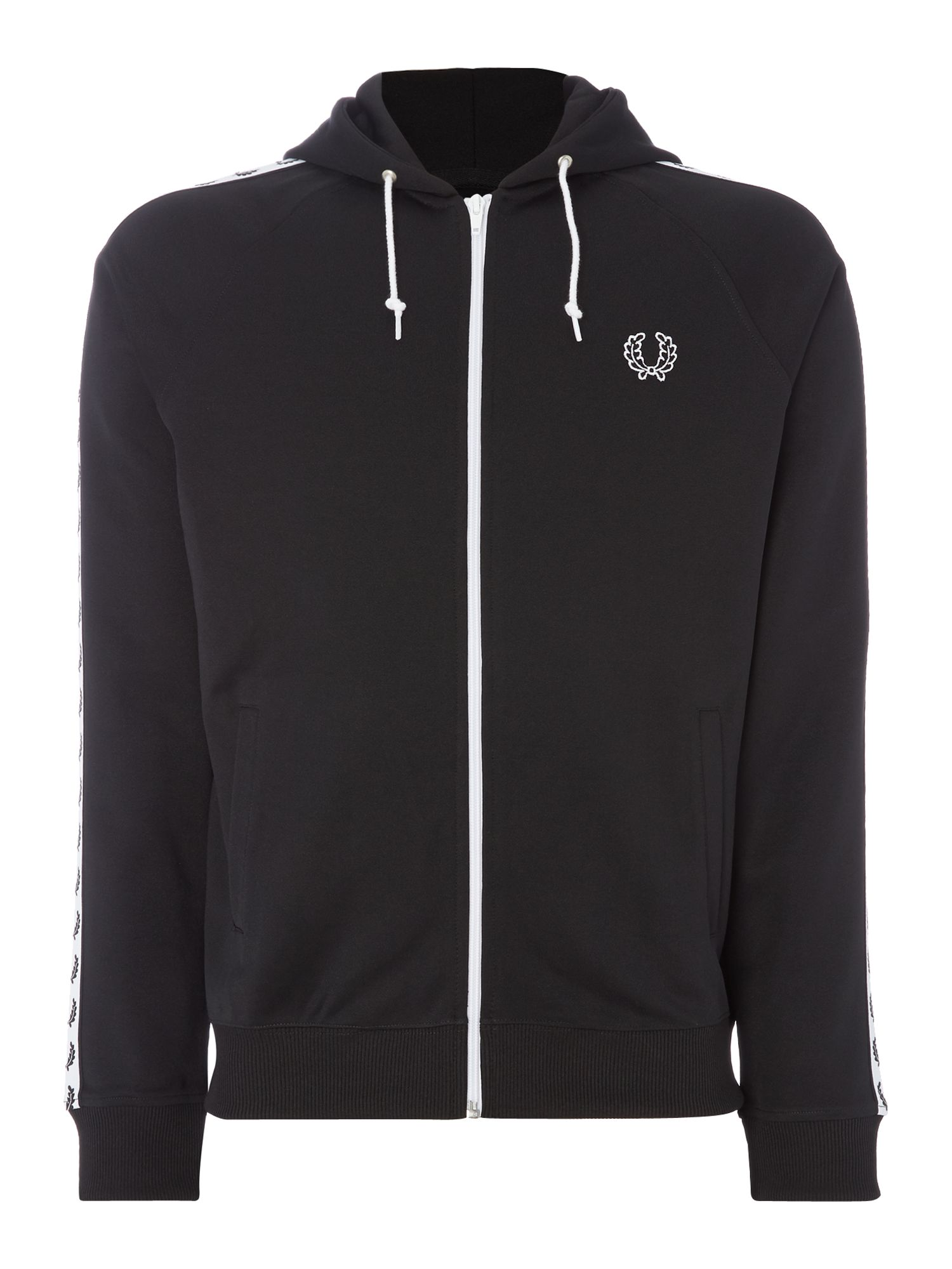 Mens Fred Perry Taped hooded track jacket Black
