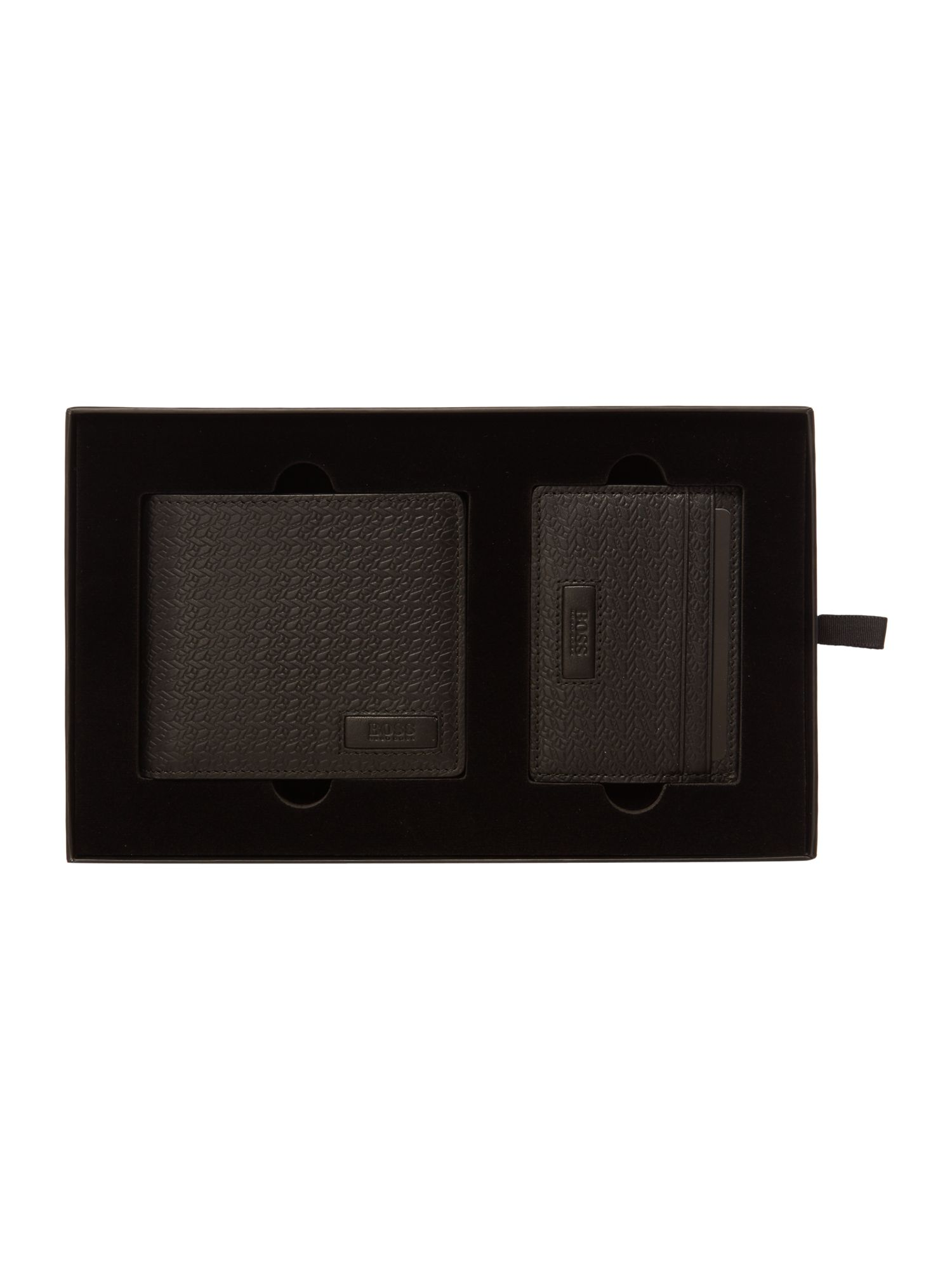 Hugo Boss Geometric Embossed Leather Wallet and Card Gift Black