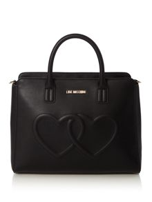 Love Moschino Hearts black medium tote bag