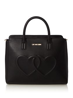 Hearts black medium tote bag