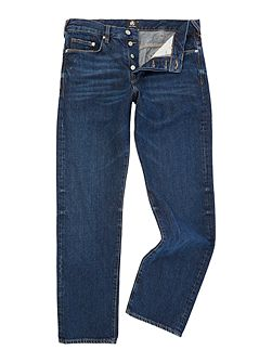 Standard fit dark wash indigo jeans