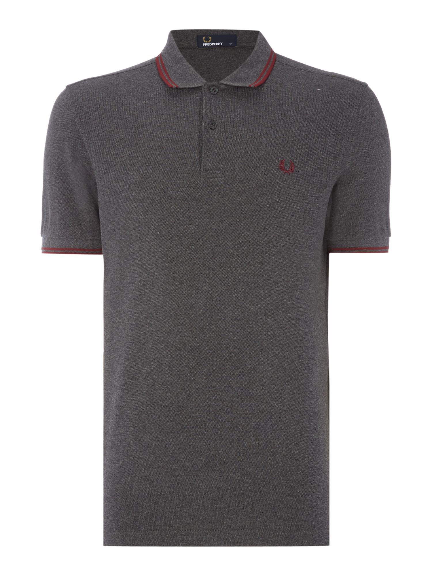 Mens Fred Perry Twin Tipped Polo Shirt Charcoal