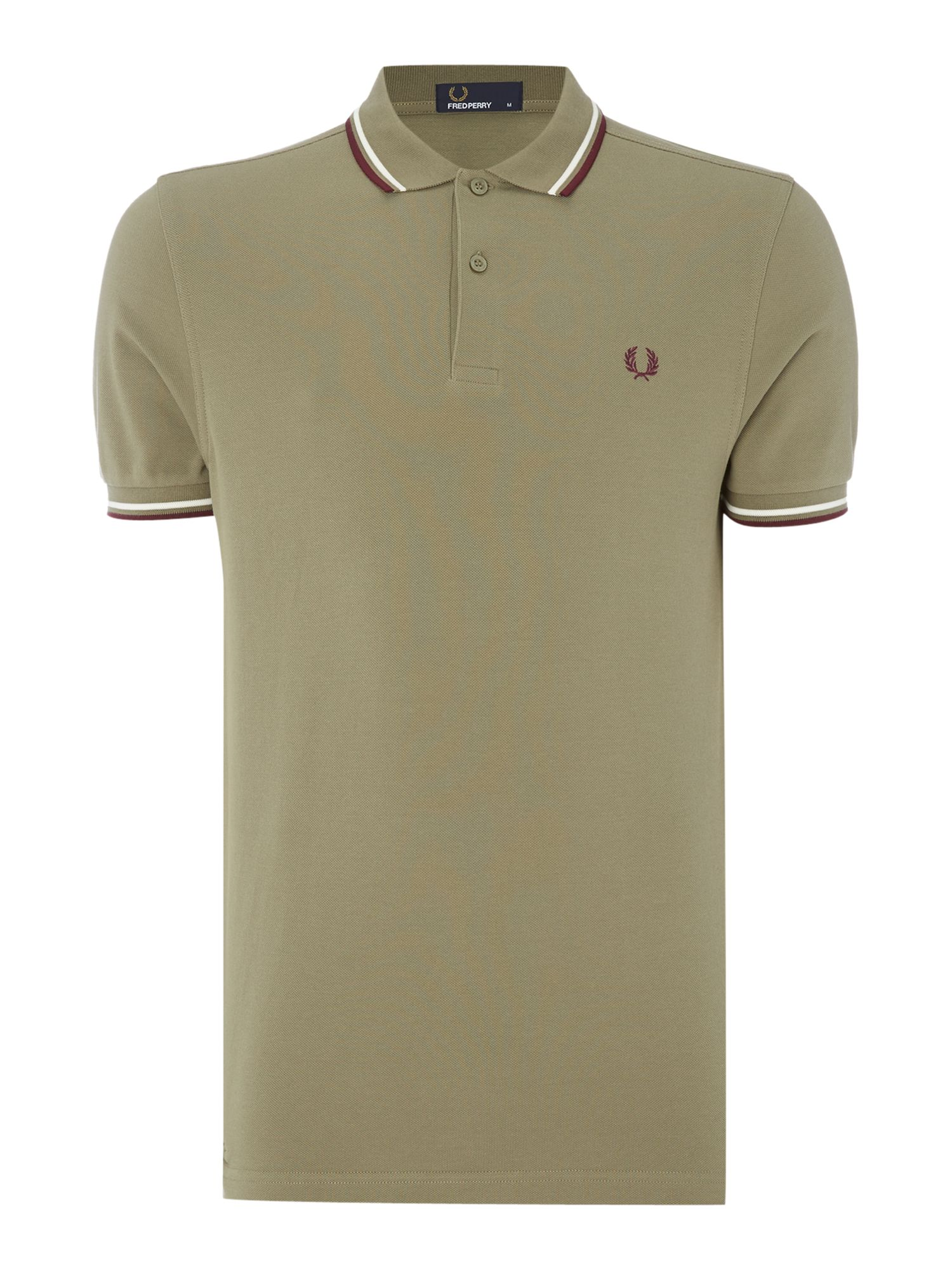 Mens Fred Perry Twin Tipped Polo Shirt Olive