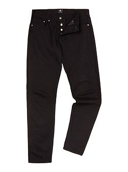 Tapered stretch fit black jeans