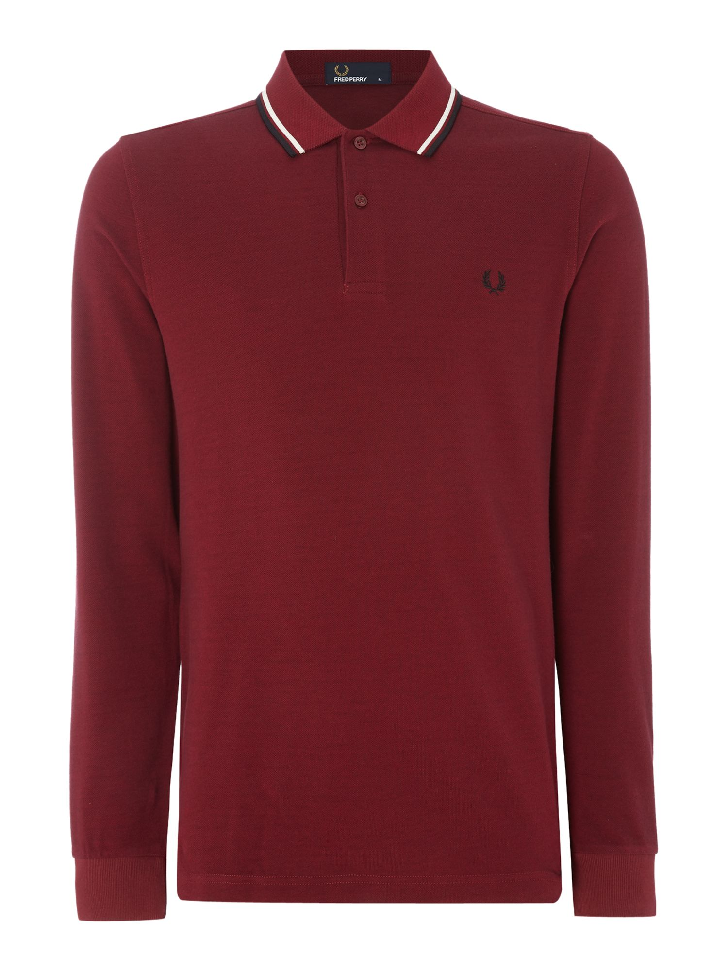 Mens Fred Perry Long Sleeve Twin Tipped Polo Shirt Claret