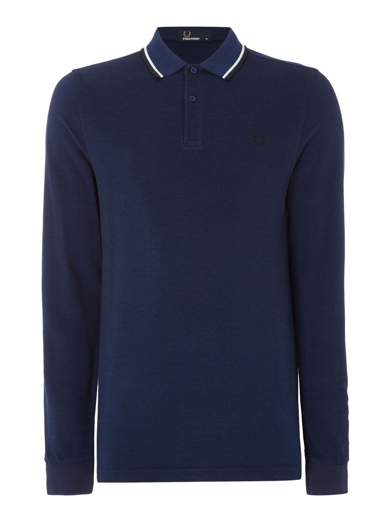 Mens Fred Perry Long Sleeve Twin Tipped Polo Shirt Royal