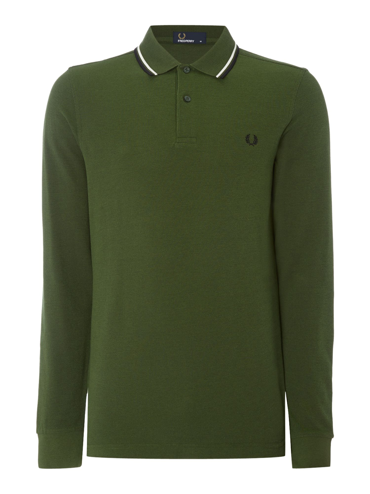 Mens Fred Perry Long Sleeve Twin Tipped Polo Shirt Olive