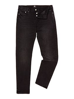 Tapered stretch fit black wash jeans