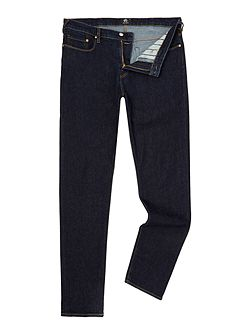 Tapered fit indigo dark wash jeans