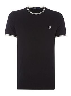Crew neck twin tipped collar t-shirt