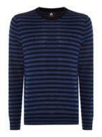 PS By Paul Smith Stripe knitted merino crew neck jumper