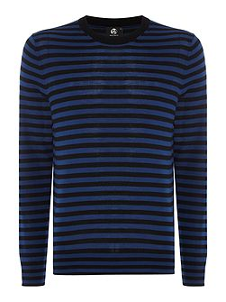 Stripe knitted merino crew neck jumper