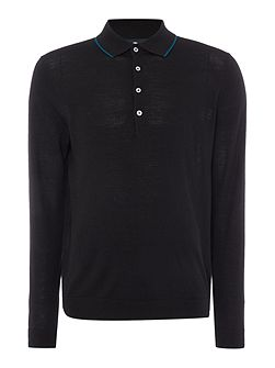 Tipped long sleeve knitted polo top