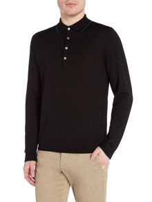 PS By Paul Smith Tipped long sleeve knitted polo top