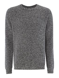 Lambswool cable knit crew neck jumper