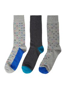 Linea 3 Pack Chevron Socks